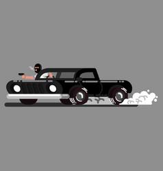 criminal drives a car and shoot vector image