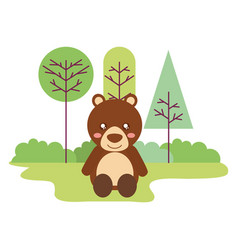 cute bear sitting in the outdoors vector image