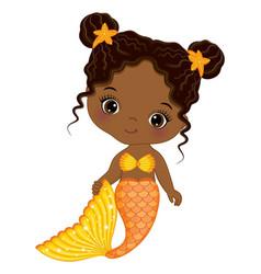 Cute black baby mermaid with orange fishtail vector