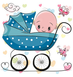 Cute cartoon baby boy is sitting on a carriage vector
