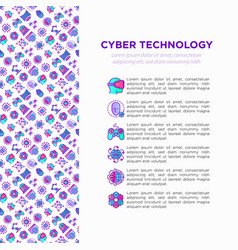 cyber technology concept with thin line icons ai vector image
