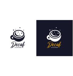 Decaf coffee logo icon vector