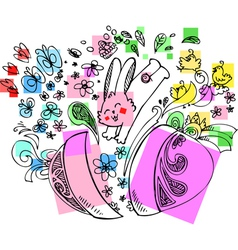Decorated Easter egg with jumping bunny vector image