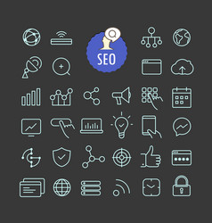 Different seo icons collection web and mobile app vector