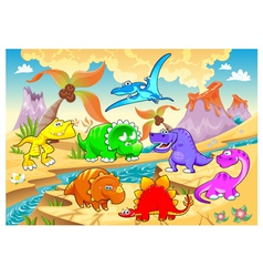 Dinosaurs rainbow in landscape vector