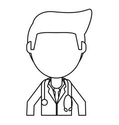 Doctor staff medical hospital thin line vector