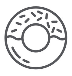 donut line icon delicious and food cake sign vector image