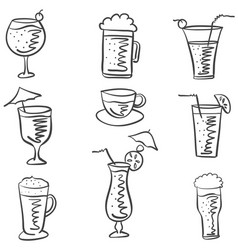 Doodle of drink various style vector