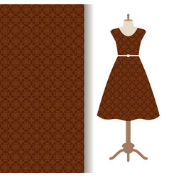dress fabric with brown arabic pattern vector image
