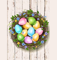 easter nest wooden background vector image