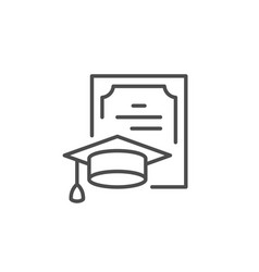 Education diploma line outline icon vector