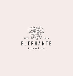 elephant head logo geometric line vector image