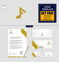 f music initial logo template branding design or vector image