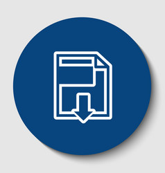 file download sign white contour icon in vector image