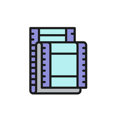 film strip cinema frames flat color line icon vector image