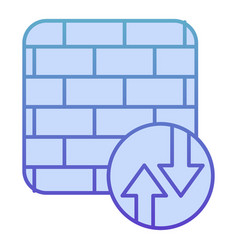 Firewall flat icon network protection blue icons vector