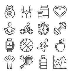 fitness and health icons set on white background vector image