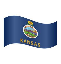 Flag of kansas waving on white background vector