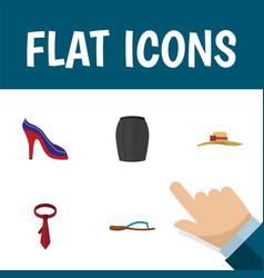 Flat icon garment set of heeled shoe stylish vector