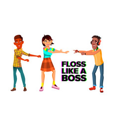 floss like boss web banner template vector image