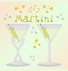 For alcohol cocktail martini vector