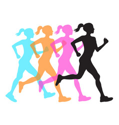 four silhouette of running women profile black vector image