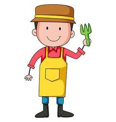 Gardener holding a planting fork vector