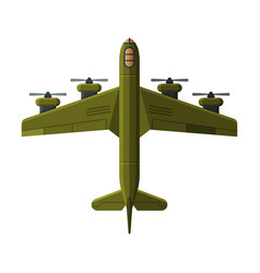 green flying aircraft military air transport vector image