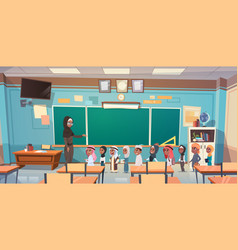 Group of arab pupils with teacher in classroom vector