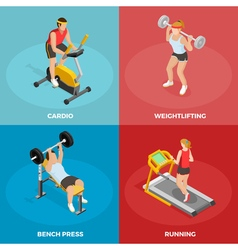 Gym sport isometric concept vector