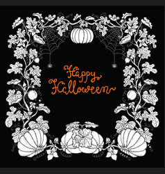 halloween frame with pumpkins and lettering vector image