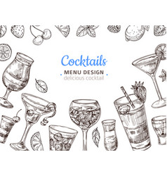 Hand drawn cocktail background engraving vector