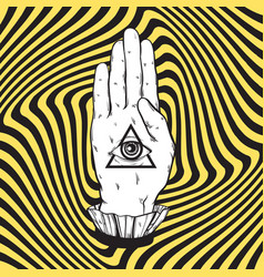 Hand drawn of female hand with all seeing eye vector