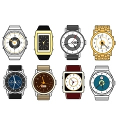 hand watches on white vector image