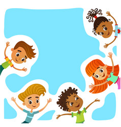 happy and funny children stand around a large vector image