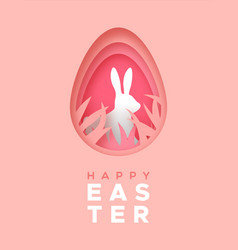 happy easter card paper craft rabbit in egg vector image