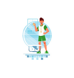 happy man coaches and swimmers with stopwatch vector image
