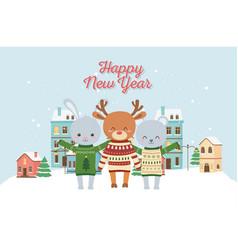 happy new year 2020 celebration cute deer rabbit vector image