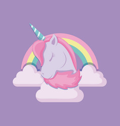 head cute unicorn of fairy tale with rainbow and vector image