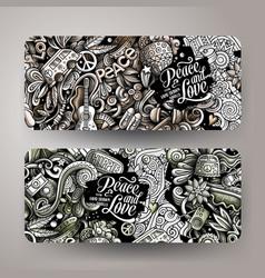 hippie hand drawn doodle banners set cartoon vector image