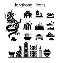 hong kong icon set vector image