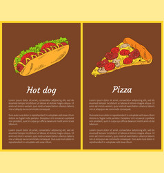 Hot dog and pizza slice set vector