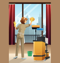 Hotel janitor cleaning hotel room vector