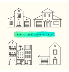 Houses set drawn black outline on a light vector image