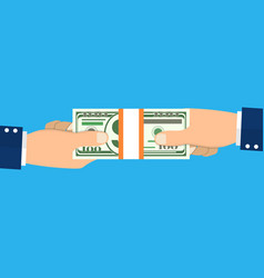 human hand giving money to other hand vector image