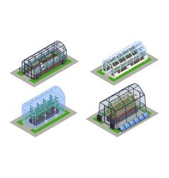 Isometric greenhouse modern smart icon set vector