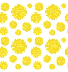 Lemons slices on white seamless pattern vector image