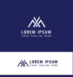 letter xm simple line symbol logo design concept vector image