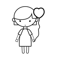 line beauty girl with heart balloons and hairstyle vector image