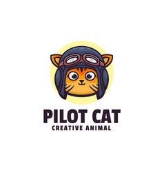 Logo pilot cat simple mascot style vector